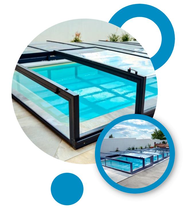 Zastrešenia bazénov Pooltime. Široká ponuka tvarov a farbených variant zaistí, že zastrešenie bazéna dokonale splynie s Vašou záhradou.